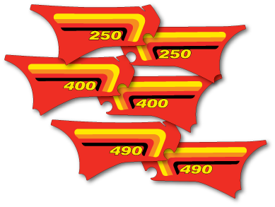 New Reproduction Side Panel Decals that fit 1982 Maico 250 490 Die Cut