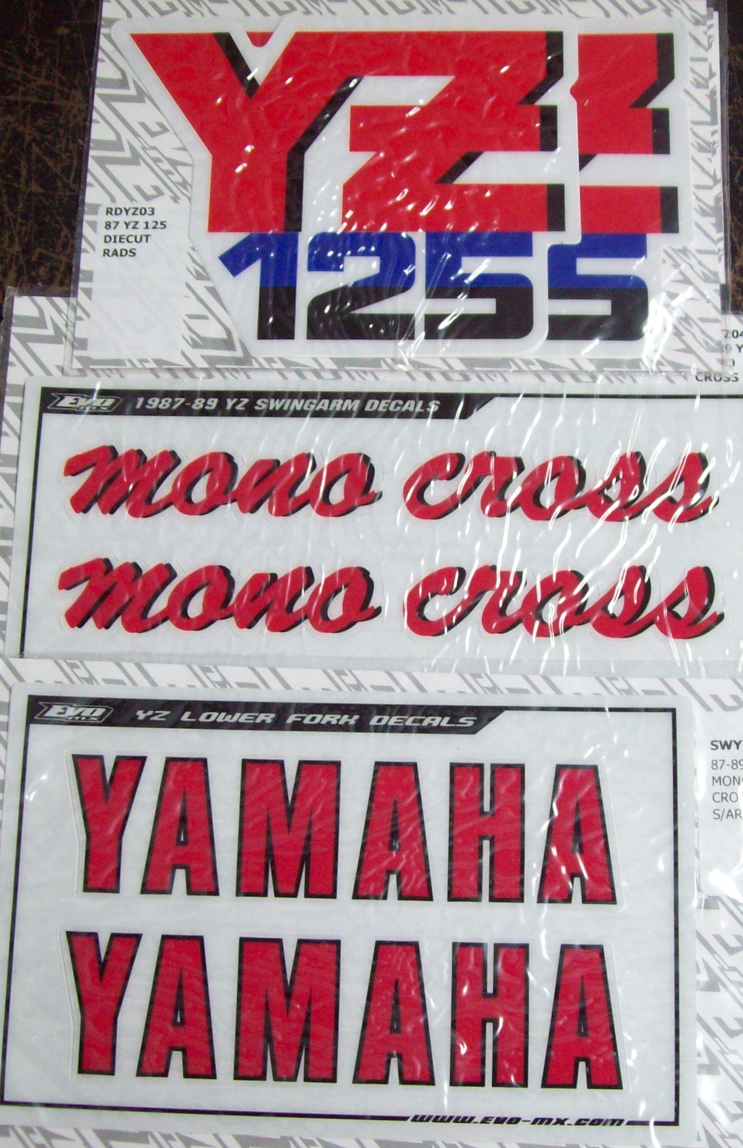 1987 Yamaha YZ 125 Decal Kit Rads, Swingarm, Forks