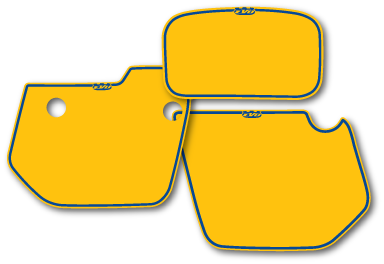 1985 1986 Husqvarna WR Side Panel & Headlight Decal Backgrounds Yellow
