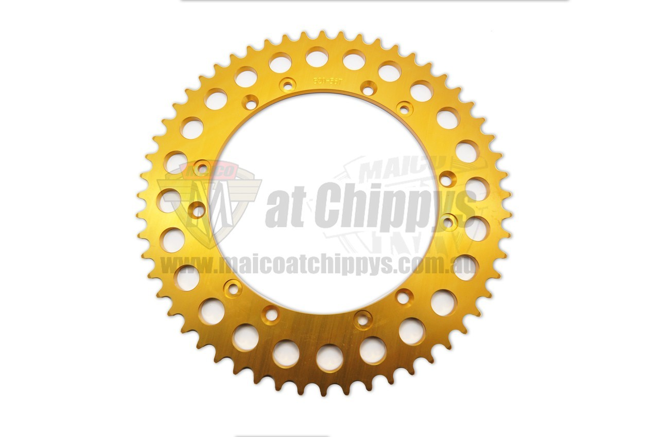 New Reproduction 7075 Alloy Gold Rear Sprocket 52T that fits the 1968-1984 Drum Brake Maico