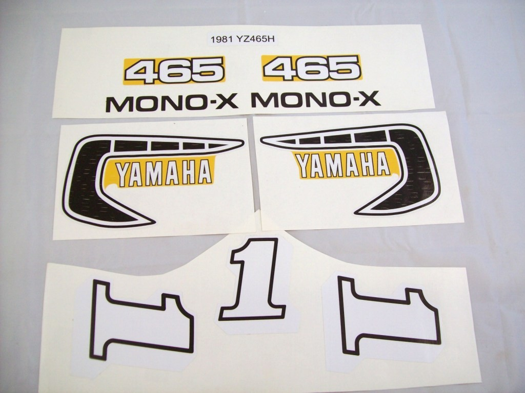 1981 Yamaha YZ 465 Tank, Side Panel & Swingarm Decal Kit