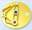 New Reproduction Front Brake Backing Plate Gold that fits Conical Maico Front Hubs, Left Hand Application