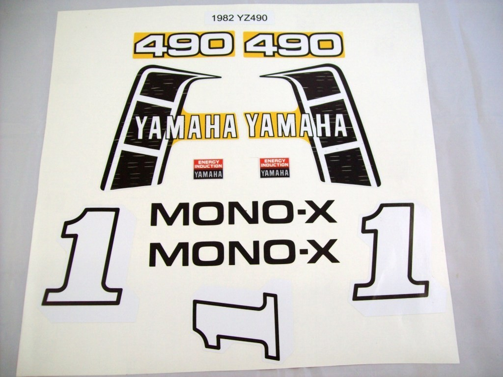 1982 Yamaha YZ 490 Tank, Side Panel & Swingarm Decal Kit