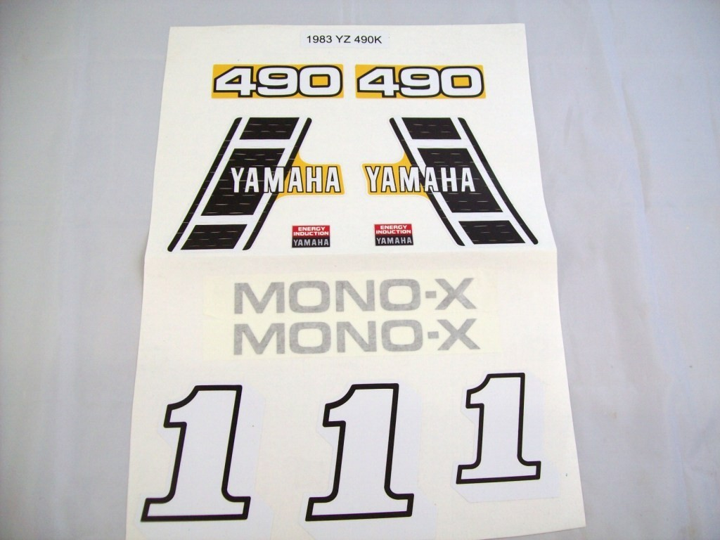 1983 Yamaha YZ 490 Tank, Side Panel & Swingarm Decal Kit