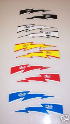 JT Racing Lightning Bolt Decals 6""